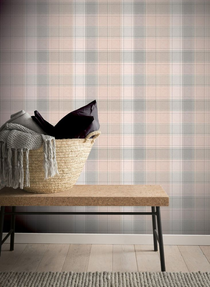 Arthouse Country Check Pink 901900 Wallpaper